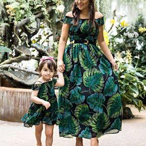 Short Sleeve Tropical Leaf Print Maxi Dress